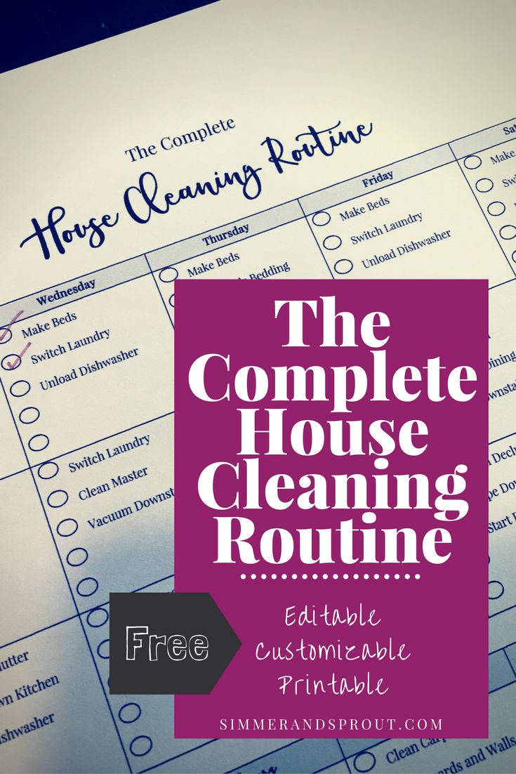 Need a little help getting the housework under control?  I'm here to help.  The Complete House Cleaning Routine is where you start.  I can help you customize, edit, and print your own complete house cleaning schedule at simmerandsprout.com