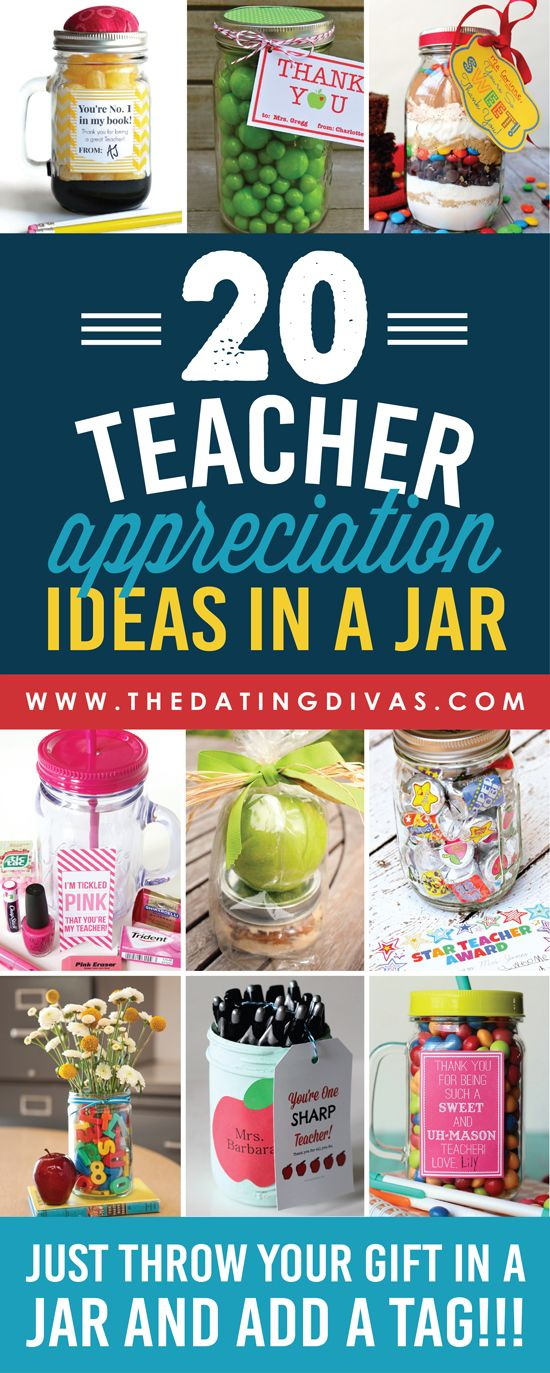 Easy and CUTE teacher appreciation gifts in a jar!!! I love that most come with a free gift tag!!! www.TheDatingDivas.com