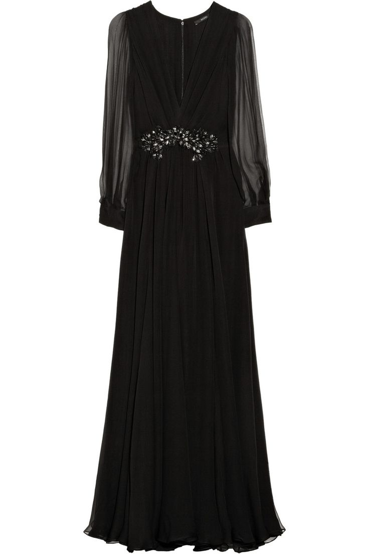 Embellished silk-chiffon gown by Gucci