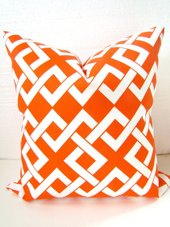 Sale Orange OUTDOOR Pillows 16x16 ORANGE Halloween Decorative Throw Pillow Indoor Outdoor Pillow Covers Coral Home and Living Clearance