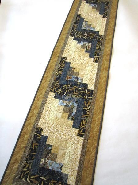 Blue and Gold Quilted Table Runner with Asian Accent