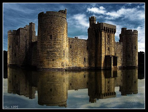Bodiam Castle  Bodiam Castle is a quadrangular castle located in East Sussex, England.  It was built in 1385 by Sir Edward DalyngriggFrench Invasion, Quadrangular Castles, Edward Iii, Sir Edward, Castlescottagesand Statues, East Sussex, Castles Locations, Bodiam Castles, Surroundings Area