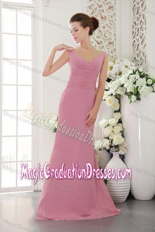 Rose Pink V-neck Low Back Sweep Train Prom Dresses for Grad in Bryan