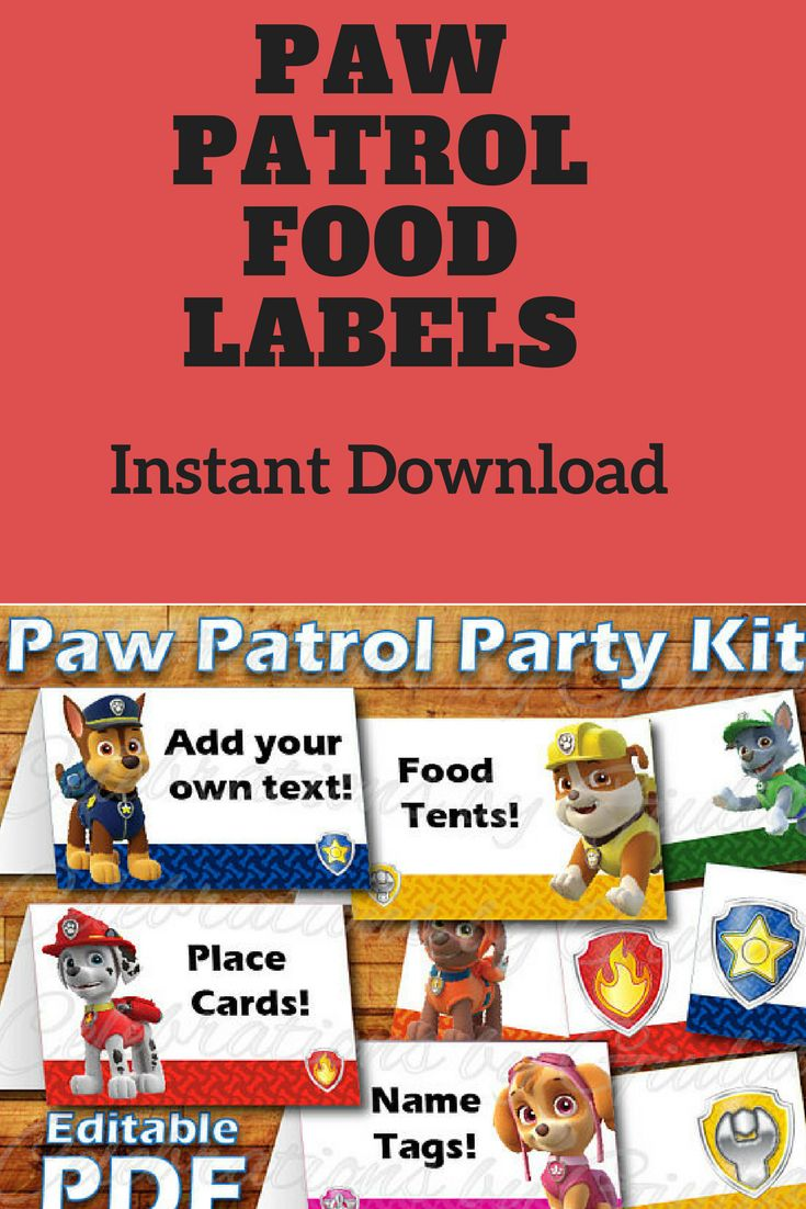 Printable Paw Patrol Birthday Party Food Label Tent Card Instant Digital Download for use as Paw Patrol Party Place cards / Name Tags Skye #ad #pawpatrol #pawpatrolbirthday #instantdownload
