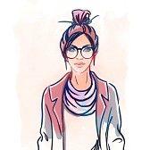 pink hair : Estilo de la calle urbana: chica inconformista bonita con el pelo rosado que sostiene la taza de café retrato aislado en fondo blanco, estilo incompleto ilustración vectorial de la moda