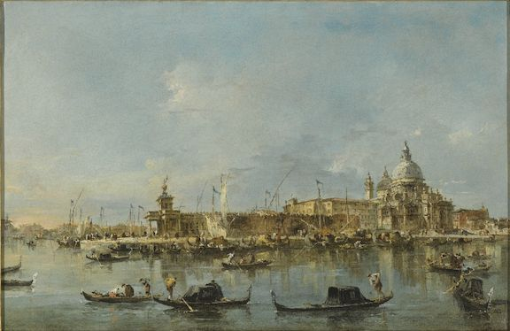 FRANCESCO GUARDI, VENICE 1712 – 1793, VENICE, A VIEW OF THE ENTRANCE TO THE GRAND CANAL WITH THE CHURCH OF, SANTA MARIA DELLA SALUTE AND THE PUNTA DELLA DOGANA;, VENICE, A VIEW OF THE CHURCH OF SAN GIORGIO MAGGIORE WITH THE END OF THE, GIUDECCA, a pair, both oil on canvas, each: 34.5 by 52.5 cm.; 13 5/8 by 20 3/4 in