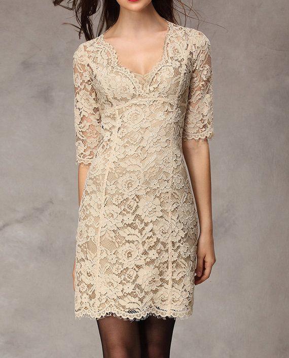 Khaki / Green /  Blakc  lace dress womens dress long sleeve dress fashion dress long dress ---WD140 on Etsy, $189.99
