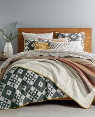 Martha Stewart Collection Blair Cotton Reversible Full/Queen Quilt, Only at Macy's - Black