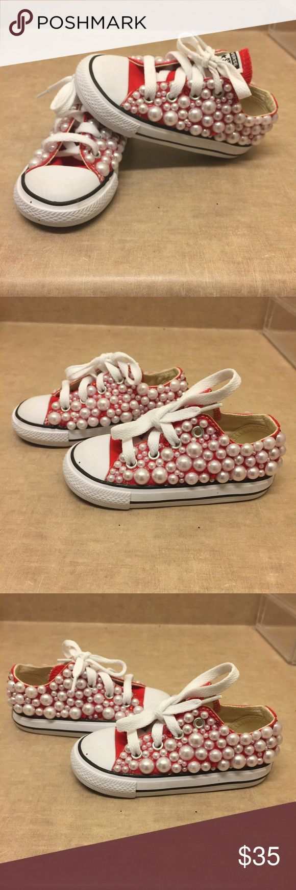 ❣️Custom Converse ❣️ Custom converse size 7 by me! Brand new never worn. Cover with pearls are red & clear diamonds! Blingy this are very cute for kids to wear for birthday or great birthday gift! Converse runs a size big! Converse Shoes Sneakers
