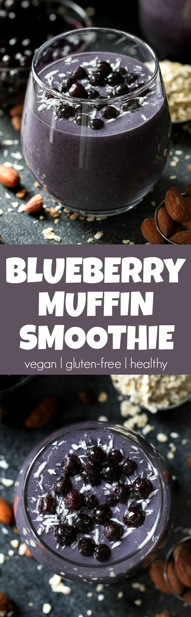 Cool, creamy, and ridiculously comforting! This Blueberry Muffin Breakfast Smoothie uses oats and almond butter to give it a subtle doughiness that pairs perfectly with the fresh and vibrant flavours blueberries and bananas. | runningwithspoons...