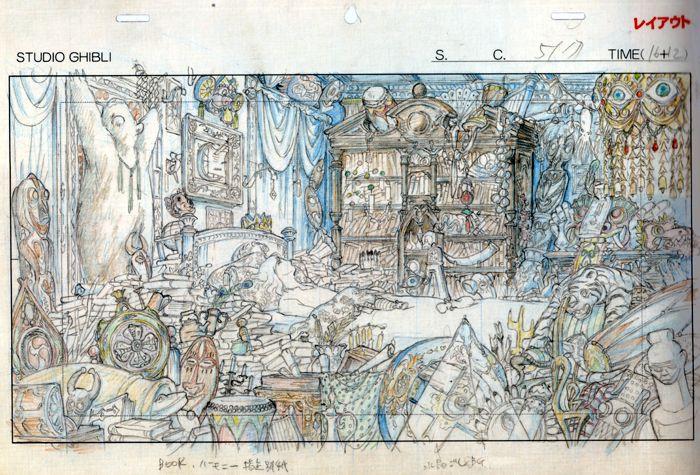 Layout de la chambre d'Hauru dans le Château Ambulant