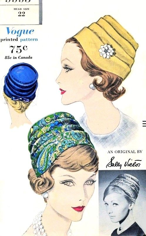 1960 Stylish Sally Victor Pleated Hat Pattern Vogue 9993 Classy Early 60s Chic Millinery Vintage Sewing Pattern