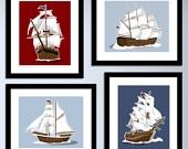 Sailboat art print for nautical nursery
