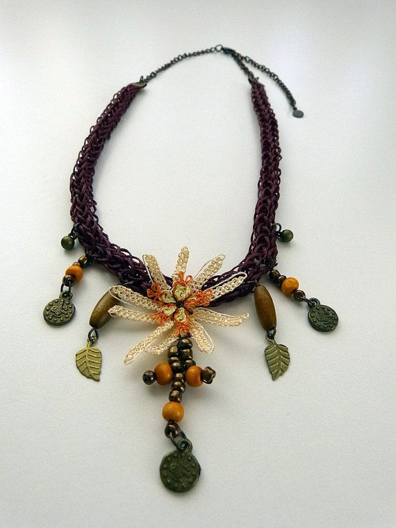 Needle lace necklace with navajo white flowers and by MsPolite, $36.00
