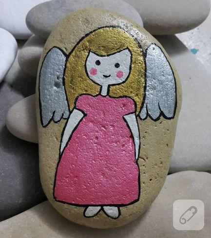 melek desenli taş boyama