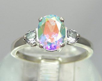 Unique Engagement Ring   Unique Wedding Ring   Promise Ring  Magical Mercury Mist Topaz 2ct Accented 14kt Yellow or White Gold Size 4-16