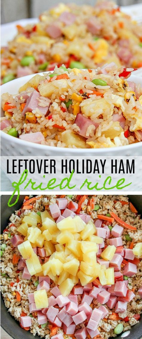 This 10-minute ham and pineapple fried rice recipe is the perfect way to use that leftover holiday ham. #linglingasianfood #ic #ad