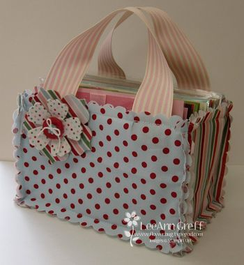 Fabric Bag Tutorial ~~I promised you a tutorial on how you can make this adorable fabric bag, so here it is! I use mine to hold my hand-made greeting cards. Another great idea is to use this bag to give a gift of cards along with envelopes.