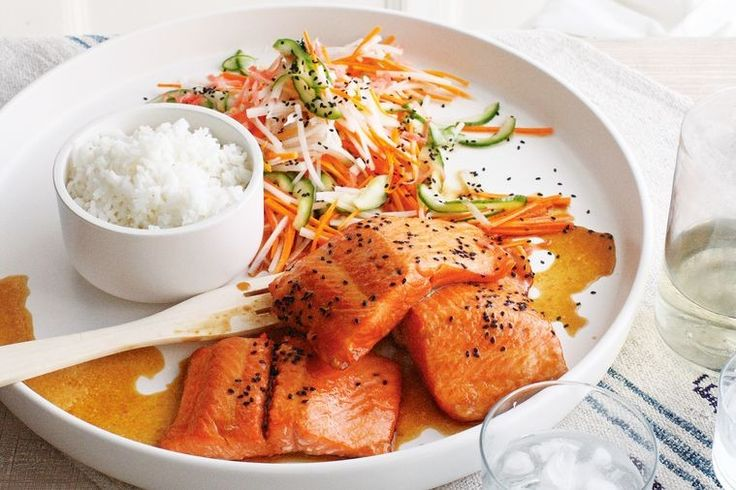 For those of us who can't have gluten, this recipe for teriyaki salmon with pickled vegetables is a Japanese-inspired delight.