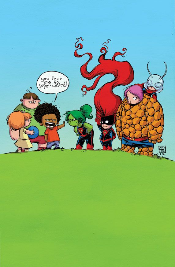 Skottie Young Art.     I happen to love the new Fantastic Four. I mean, come on, She-Hulk is instant win no matter what.