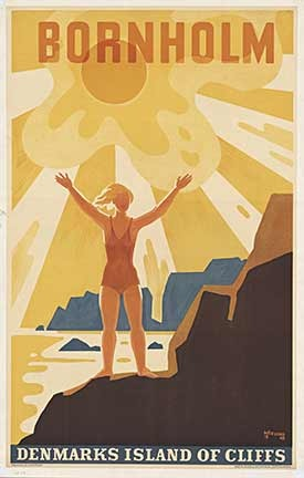 "Poster of #Bornholm by Thor Bogelund. Bornholm is known for being ""the sunshine island"", since Bornholm on average has more sunshine hours, compared to the rest of #Denmark"
