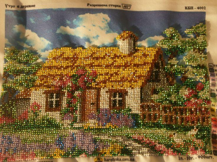 картина -домик , чешский бисер, готовая
