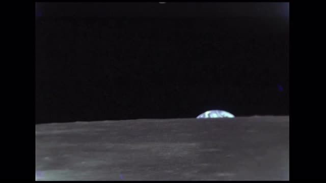Earth Rising Above Moon Horizon Stock Video Footage - VideoBlocks