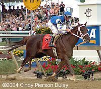 """The Delaware Valley's own Smarty Jones.  Adorable, hammy little horse owned by the Chapmans of Chapman Ford.  """"Almost"""" Triple Crown winner."""