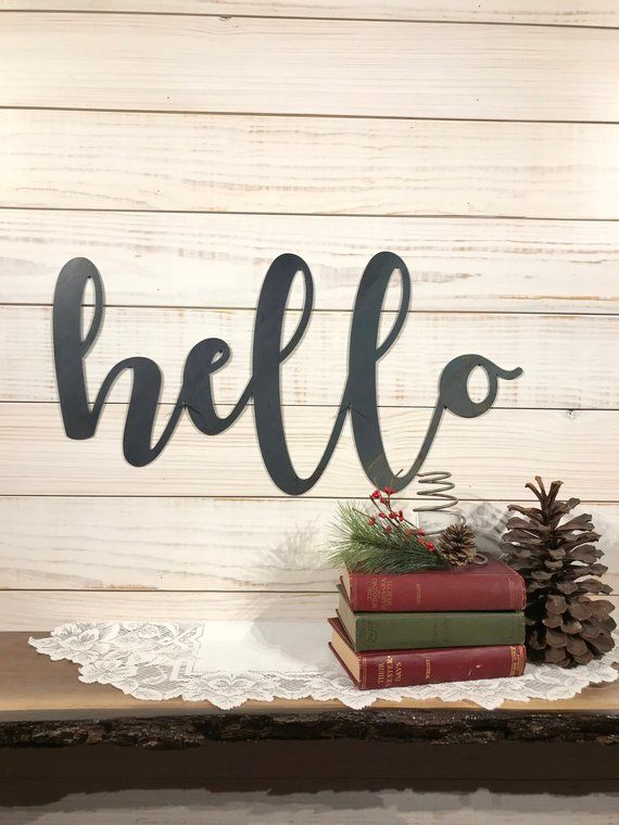 Hello Sign 36 Inch Metal Rustic Farmhouse Style Decor Etsy Farmhouse Style Decorating Rustic Farmhouse Style Rustic Metal Decor