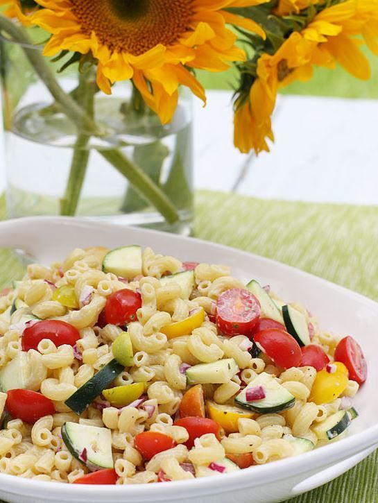 Low-Fat Summer Macaroni Salad makes for a great picnic or cookout side dish. The vegetables make it healthy and skinny!