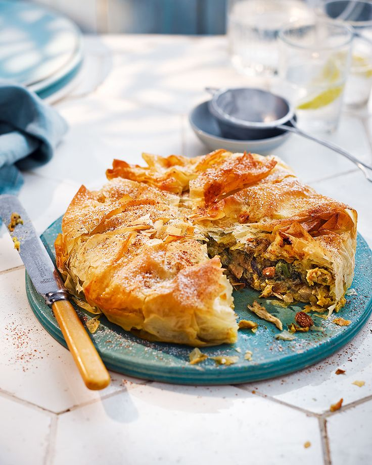 Chicken pie but not as you know it – this slightly sweetened Moroccan-inspired recipe wraps a spiced chicken and sultana filling in a crunchy layer of filo pastry.