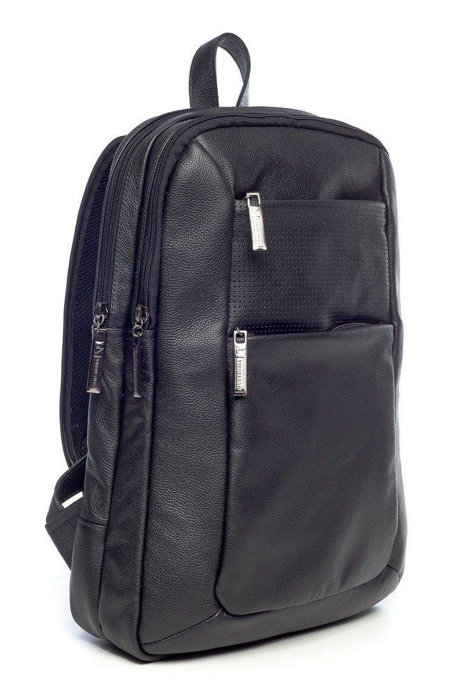 Mochila masculina slim em couro legítimo Vira Vento preta - Enluaze Loja Virtual | Bolsas, mochilas e pastas