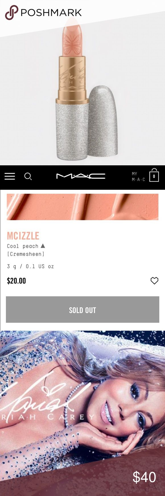 MAC x Mariah Carey Lipstick in Mcizzle Brand new in box lipstick. Purchased online direct from the MAC website. Sold out!! MAC Cosmetics Makeup Lipstick