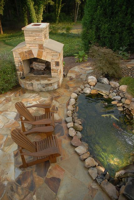 pond and fireplace