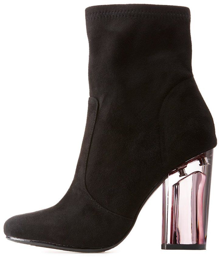 Charlotte Russe Lucite Heel Ankle Booties