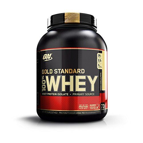 Optimum Nutrition Gold Standard 100% Whey Protein Powder, French Vanilla Creme, 5 Pound  Gold Standard 100% Whey delivers 24g of whey protein per serving  Whey protein shake consumed before or after exercise helps kick start muscle recovery for men and women  Gold Standard 100% whey protein powder has 5.5 grams of naturally occurring BCAA's and 4 grams of naturally occurring glutamine  Over 20 delicious flavors to choose from  Comes in multiple sizes, choose from 1, 2, 5, or 10 lbs  Fr...