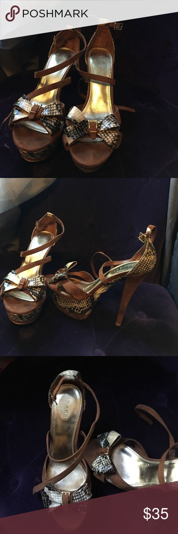 Brown suede snakeskin heels Brown suede snakeskin heels with a bow with the gold buckle Bakers Shoes Heels