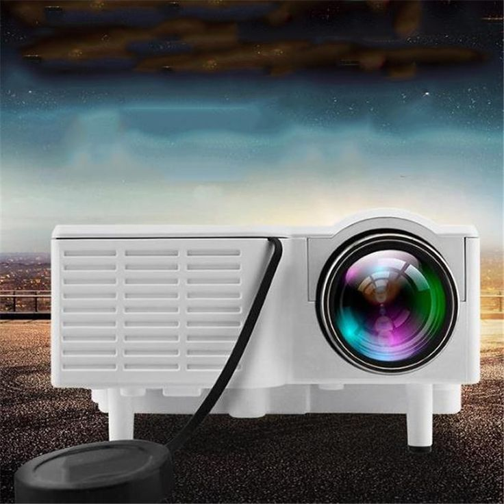 42.81$  Buy now - Mini Portable Home Cinema Theater LED Projector 1080P HD video beam small projector AV SD VGA USB HDMI White  #buychinaproducts