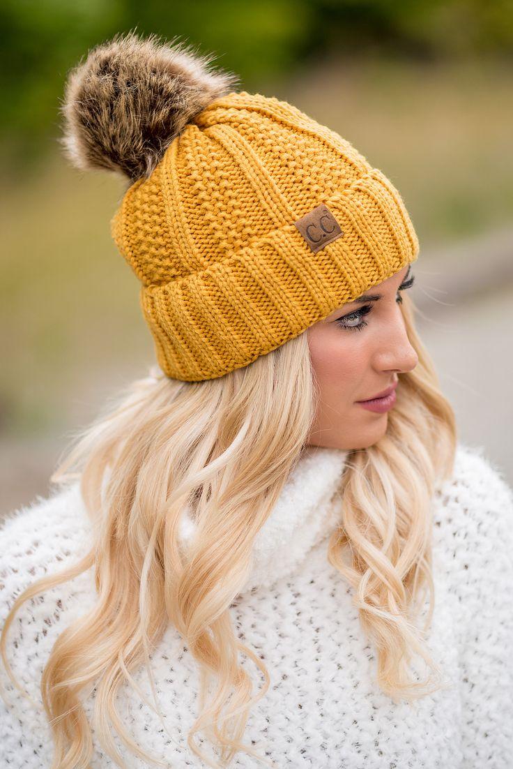 CC Knit Blanket Lined Fur Pom Pom Beanie (Mustard) - NanaMacs.com - 1