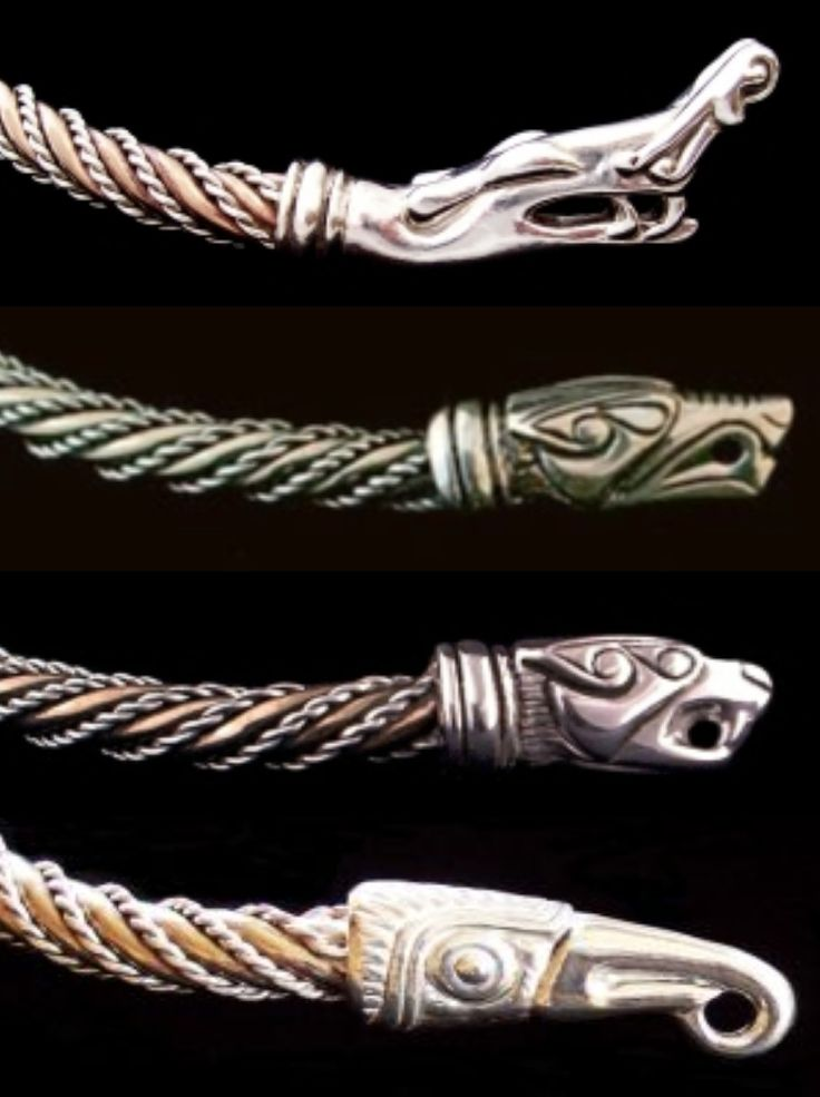 Viking Neck Torc Terminals by Urweg: 1) Urnes Dragon 2) Wolf 3) Cat 4) Raven http://www.urweg.com/list/torcs.html