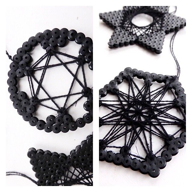 Hama perler string art by Alice Oppenheim