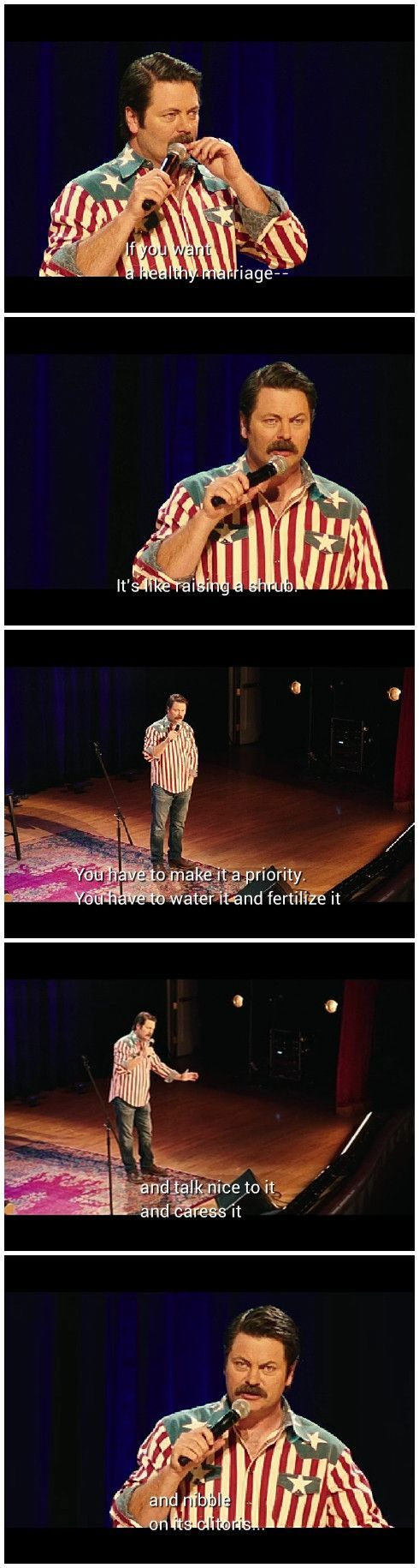 Funny Memes Nick Offerman on healthy marriages...