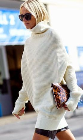 White Oversize Knitted Turtleneck #FW14 #trend