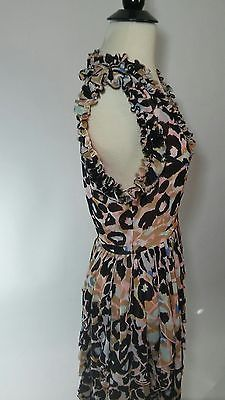 Matthew Williamson Pink Printed chiffon ruffle dress Sz 4