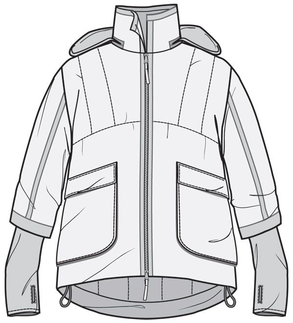 Jacket front flat drawing