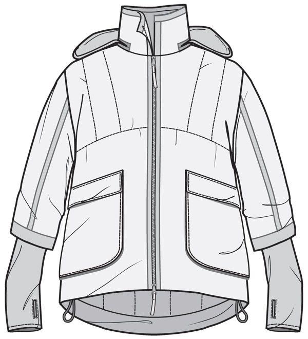 Jacket front flat drawing