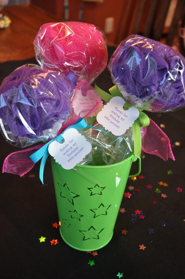 Handmade Unique Girls Spa Party Bath Puff Lollipop Favor  - Set of 4. $16.00, via Etsy.