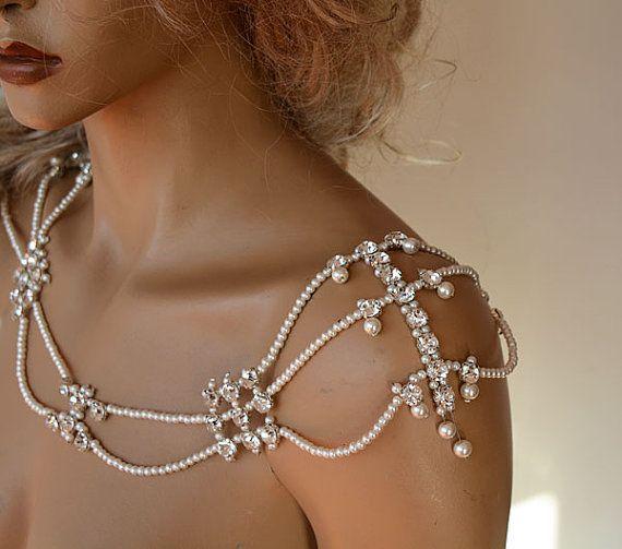 Perla e strass gioielli spalla Abito da sposa nozze di ADbrdal