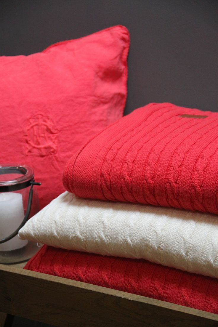 Gant Home Collection Spring 2014 Coral red & white cabel knit cushion, Throw. by Hedges