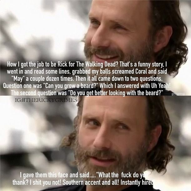 The story about how Andrew Lincoln got the role of Rick Grimes everybody!!
